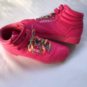 Reebok Freestyle Hot Pink Leather Hi Top Sneakers